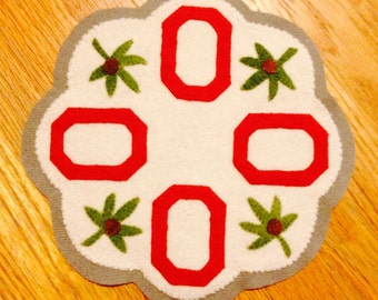 Ohio State Wool Candle Mat