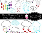 Heart Showers Digital Clipart Elements Commercial use for paper, invites InStAnT DoWnLoAd