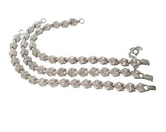 Art Deco Chevron Bracelets, Vintage Rhinestone Links, 1920s Art Deco Bridal Jewelry, Wedding Jewelry, Vintage Jewellery