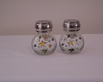 Hand Painted Glass Salt and Pepper Shakers with White Flowers