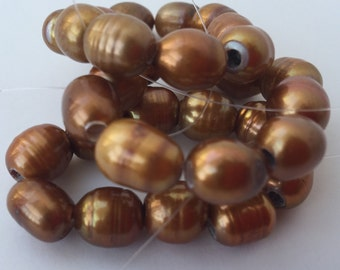Large Hole Pearl Freshwater Pearls Baroque Rice Pearl Nugget pearl 8mm X 9-10mm bright bronze brown with 2.5mm hole 10 Pc #LH8054