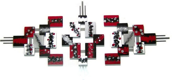 3pc Red,Black,Modern,Abstract,Squares, Sculpture 81x37 by Alisa R Tarpley