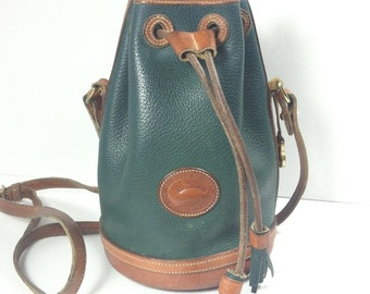 Vintage Dooney and Bourke Drawstring Bag Hand-Fitted Fir Green AVL