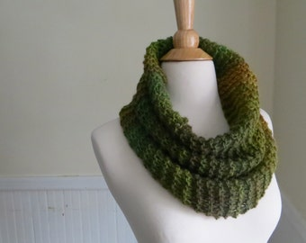 Relaxed Knit Cowl in Earthy Greens