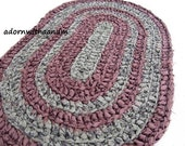 Brown green earth crocheted oval shape rag rug, eco friendly, washable, bath mat, durable, olive, earthy tones, kitchen rug, home decor
