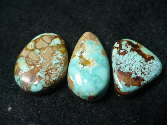 Lot of Three (3) Turquoise Cabochons Freeform cut Natural Untreated Royston Nevada Mine