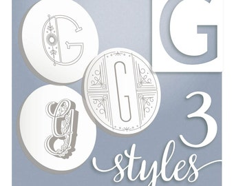 Embroidery Patterns Modern Monograms Letter G hand embroidery patterns in three styles Alphabet Letter embroidery designs by SeptemberHouse