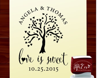 Love is Sweet Stamp Self Inking, Love Tree Wedding Stamp, Bride and Groom name stamp  (HS1313)