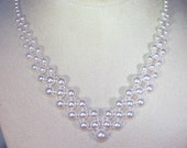 Swarovski Pearl Bridal Necklace - Shown in White Pearls - MADE TO ORDER