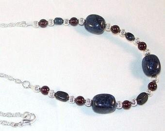 Gemstone and Swarovski Pearl Jewelry - Dumortierite and Garnet Necklace