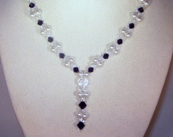 Swarovski Pearl & Crystal Jewelry - Dark Indigo and White Pearls Crystal Necklace - Any Color