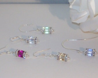 Swarovski Crystal Earrings - Cubes - Bride, Bridesmaids, Maid of Honor, Jr Bridemaids - 1 pair any color