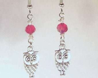 Pewter Owls and Ruby Swarovski Crystal Earrings