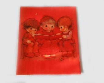 1970s Mary Hamilton Big Eyed Children Scrapbook Photo Album Orange Umber Large Hallmark Memory Mount Expandable Add a Page