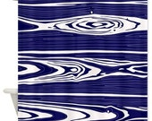 Wood Grain design shower curtain in blue and white