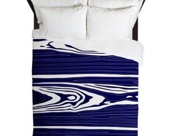 Original Wood Grain print queen duvet cover in blue and white