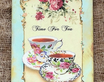 Time For Tea Teacup Gift or Scrapbook Tags or Magnet #271