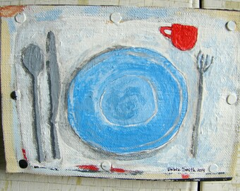Painting, original painting on canvas mounted on wood, still life folk art acrylic painting