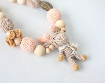 Free US shipping! Nursing necklace amigurumi Moose Breastfeeding necklace Wrap Baby Carrier Sling Accessory- Made to order