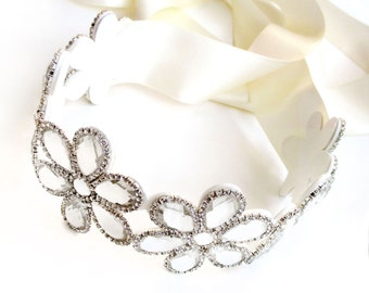 Floral Rhinestone Wedding Dress Sash - Silver Rhinestone Applique Bridal Belt Sash - Crystal Flower Extra Wide Wedding Belt