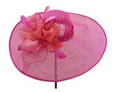 """Kentucky Derby Hat, Spring Fashion Race Day Hat, Garden and Tea Party Hat in Fuchsia Pink and Tangerine Orange is - """"Bowdacious"""""""