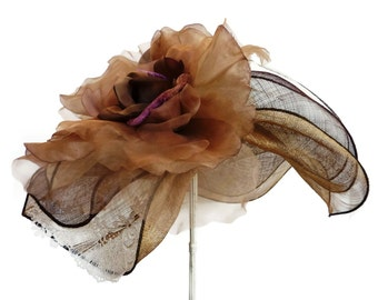 """Kentucky Derby Hat, Sinamay Straw Hat, Downton Abby Inspired Spring Fashion Hat, is Perfect for a - """"Royal Tea"""""""