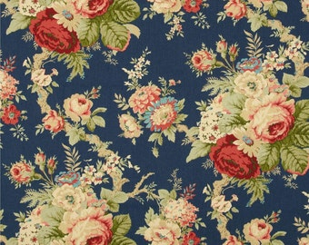"""Dark Blue Curtain Panels, Cottage Style Window Curtains, Shabby Chic Decor, Blue Floral Bouquet Drapes, One Pair Rod-Pocket 50""""W"""