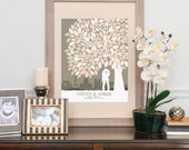 Wedding Sign In Book Alternative, Rustic Wedding Decor, Personalize Skyline & Silhouette Canvas, Art Print //100+ Signature // W-T05-1PS HH3