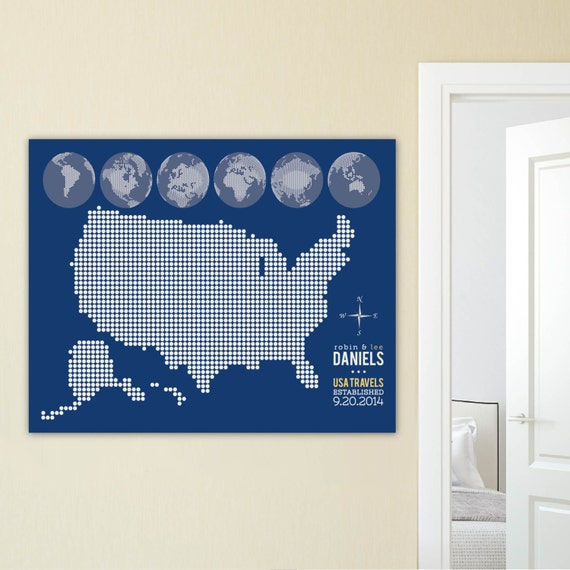 Interactive Map USA Travel Map Home Wall Decor by PaperRamma