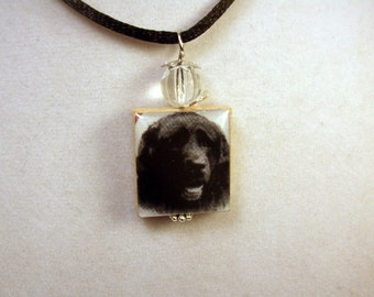 NEWFOUNDLAND - Newfie Jewelry / SCRABBLE Pendant / Handmade Unusual Gifts / Necklace with Satin Cord
