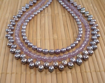 Amethyst Purple Pearls Tiered Necklace Amethyst Multistrand Light Purple Necklace Statement Necklace Amethyst Gemstone Necklace OOAK Multi