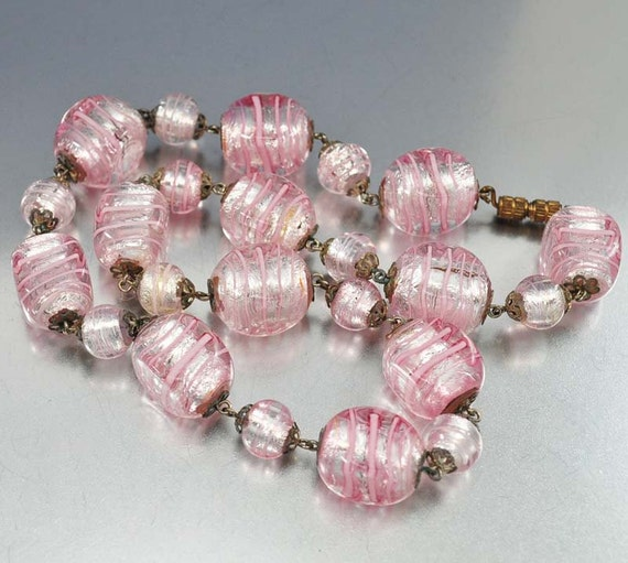 Vintage foil glass bead necklace silver pink italian