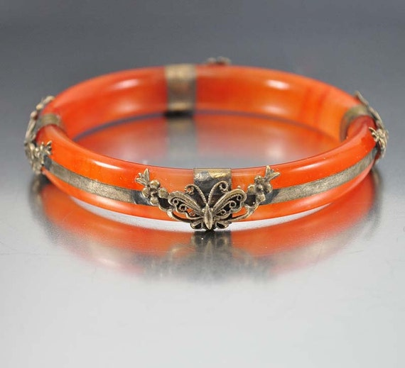 chinese bracelet red jade bracelet brass butterfly bangle