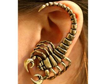 Scorpion Ear Wrap Bronze Scorpion Ear Cuff Scorpion Earring Scorpion Jewelry Insect Jewelry Insect Earring Bug Jewelry Scorpio Jewelry