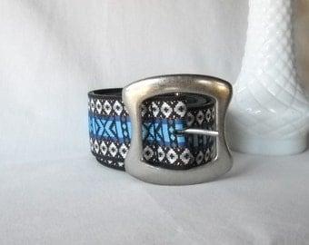 Vintage Belt Retro Belt Woven Belt Silver Buckle 1970s Belt