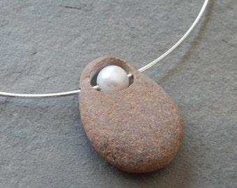 Drilled Beach Stone Necklace with Freshwater Pearl and Sterling Silver Cable Chain; pebble necklace, rock necklace, stone and pearl necklace