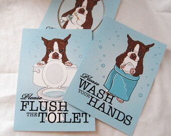 Brown Boston Terrier Bathroom Prints - 5x7 Eco-friendly Set