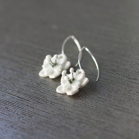 porcelain flower earrings