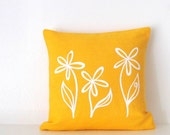 Pillow Cover - Cushion Cover - Flower Trio design - 12 x 12 inches - Choose your fabric and ink color