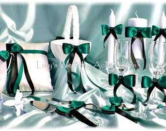 Jade and black wedding ring bearer pillow, flower girl basket, candle set, cake knife set, champagne glasses