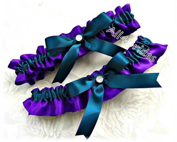 Regency Purple And Teal Wedding Bridal Garter Set Bridal