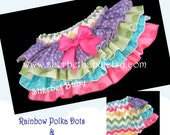Rainbow Chevron & Polka Dots Classic Style Four Ruffle Sassy Pants Ruffle Diaper Cover Bloomer Design Your Own