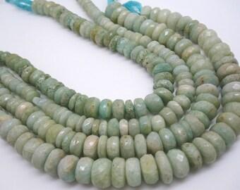 Aqua Blue Quartz Beads, Aquamarine Quartz Faceted Rondelles, SKU 4423A