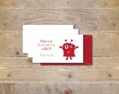 Valentine's Day Cards . School Valentine's . Cards for Valentine's Day . Valentine's for Kids -  Silly Monster