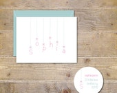 Baby Shower Thank You Cards . Baby Girl Thank You Cards . Baby Thank You Cards - Baby Name & Bows