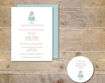 Bridal Shower Invitations . Bridal Shower Invites . Wedding Cake . Cake Shower . Hearts  -  Sweetheart Cake