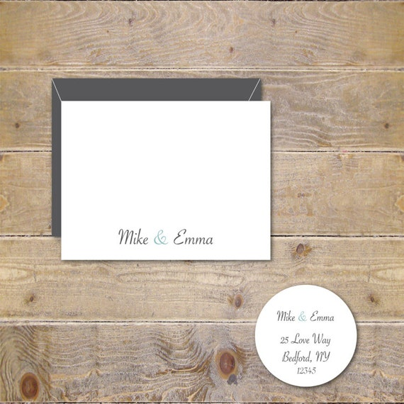 Wedding Thank You Cards . Personalized Wedding Thank You Cards . Thank You Cards . Bridal Shower - Bride and Groom