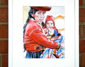 South American Art Ecuadorian Mother and Child Fine Art Print  8x10, Red Painting by Gwen Meyerson