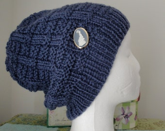 Slate Blue Patterned hat w/vintage cameo brooch