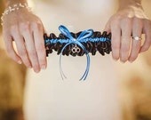 Thin Blue Line Inspired Wedding Garter in Royal Blue and Black Satin with Swarovski Crystal and Handcuff Charm - Ready to Ship